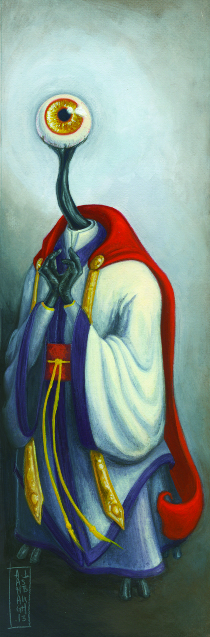 "A humanoid green figure stands wearing white and blue robes with a red cape; it's hands are held together in front of its chest; it has long thin neck leading up to a ""head"" which is just a big singular eyeball"